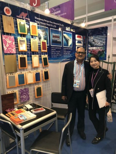 hengze steel nancy on 123th-canton fair with our customer